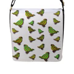 Birds Flap Messenger Bag (l)  by Valentinaart