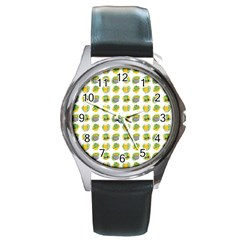 St Patrick s Day Background Symbols Round Metal Watch by Simbadda