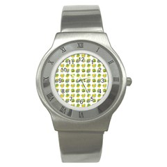 St Patrick s Day Background Symbols Stainless Steel Watch by Simbadda