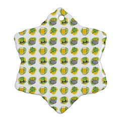 St Patrick s Day Background Symbols Snowflake Ornament (two Sides) by Simbadda