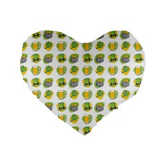 St Patrick s Day Background Symbols Standard 16  Premium Heart Shape Cushions by Simbadda