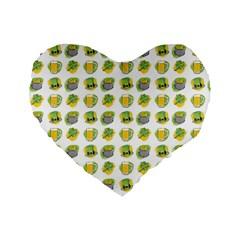 St Patrick s Day Background Symbols Standard 16  Premium Flano Heart Shape Cushions by Simbadda