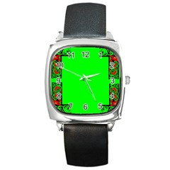 Decorative Corners Square Metal Watch by Simbadda