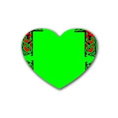 Decorative Corners Rubber Coaster (heart)  by Simbadda