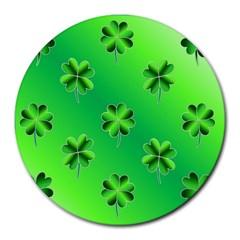 Shamrock Green Pattern Design Round Mousepads by Simbadda