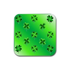 Shamrock Green Pattern Design Rubber Square Coaster (4 Pack)  by Simbadda