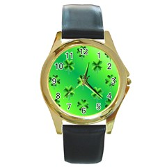 Shamrock Green Pattern Design Round Gold Metal Watch by Simbadda