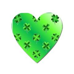 Shamrock Green Pattern Design Heart Magnet by Simbadda