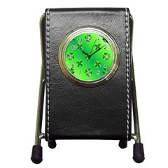 Shamrock Green Pattern Design Pen Holder Desk Clocks by Simbadda