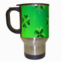 Shamrock Green Pattern Design Travel Mugs (white) by Simbadda