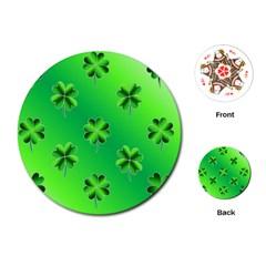 Shamrock Green Pattern Design Playing Cards (round)  by Simbadda