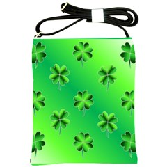 Shamrock Green Pattern Design Shoulder Sling Bags by Simbadda