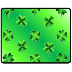 Shamrock Green Pattern Design Fleece Blanket (medium)  by Simbadda