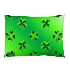 Shamrock Green Pattern Design Pillow Case (two Sides) by Simbadda