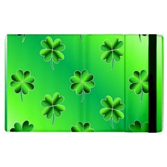 Shamrock Green Pattern Design Apple Ipad 2 Flip Case by Simbadda