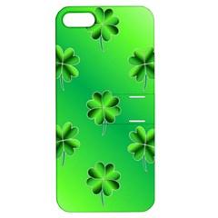 Shamrock Green Pattern Design Apple Iphone 5 Hardshell Case With Stand by Simbadda