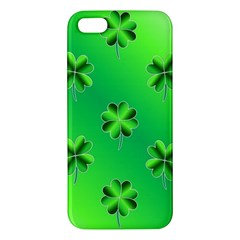 Shamrock Green Pattern Design Apple Iphone 5 Premium Hardshell Case by Simbadda