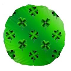 Shamrock Green Pattern Design Large 18  Premium Flano Round Cushions by Simbadda