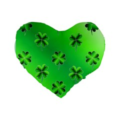 Shamrock Green Pattern Design Standard 16  Premium Flano Heart Shape Cushions by Simbadda