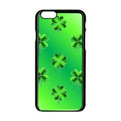 Shamrock Green Pattern Design Apple Iphone 6/6s Black Enamel Case by Simbadda