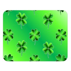 Shamrock Green Pattern Design Double Sided Flano Blanket (large)  by Simbadda