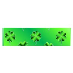 Shamrock Green Pattern Design Satin Scarf (oblong) by Simbadda