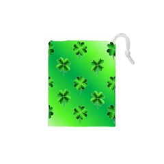 Shamrock Green Pattern Design Drawstring Pouches (xs)  by Simbadda