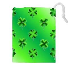 Shamrock Green Pattern Design Drawstring Pouches (xxl) by Simbadda