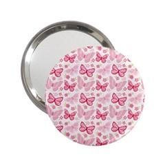 Cute Pink Flowers And Butterflies Pattern  2 25  Handbag Mirrors by TastefulDesigns