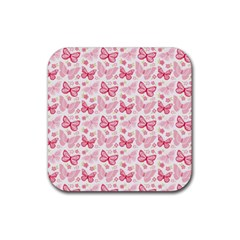 Cute Pink Flowers And Butterflies Pattern  Rubber Square Coaster (4 Pack)  by TastefulDesigns