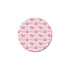 Cute Pink Flowers And Butterflies Pattern  Golf Ball Marker by TastefulDesigns