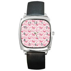 Cute Pink Flowers And Butterflies pattern  Square Metal Watch
