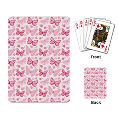 Cute Pink Flowers And Butterflies Pattern  Playing Card by TastefulDesigns