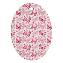 Cute Pink Flowers And Butterflies Pattern  Oval Ornament (two Sides)