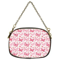 Cute Pink Flowers And Butterflies Pattern  Chain Purses (one Side)  by TastefulDesigns