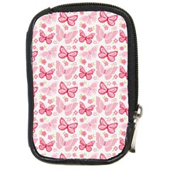 Cute Pink Flowers And Butterflies Pattern  Compact Camera Cases by TastefulDesigns