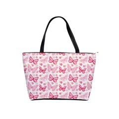 Cute Pink Flowers And Butterflies Pattern  Shoulder Handbags by TastefulDesigns