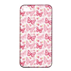 Cute Pink Flowers And Butterflies Pattern  Apple Iphone 4/4s Seamless Case (black) by TastefulDesigns