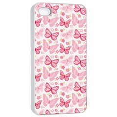 Cute Pink Flowers And Butterflies Pattern  Apple Iphone 4/4s Seamless Case (white) by TastefulDesigns