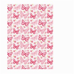 Cute Pink Flowers And Butterflies Pattern  Large Garden Flag (two Sides) by TastefulDesigns