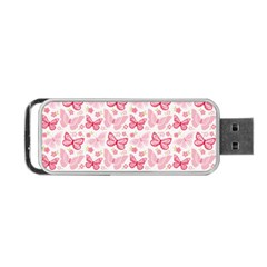 Cute Pink Flowers And Butterflies Pattern  Portable Usb Flash (two Sides) by TastefulDesigns