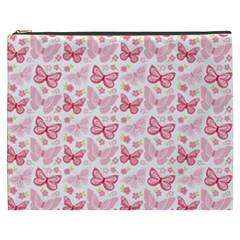 Cute Pink Flowers And Butterflies Pattern  Cosmetic Bag (xxxl)  by TastefulDesigns
