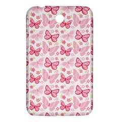 Cute Pink Flowers And Butterflies Pattern  Samsung Galaxy Tab 3 (7 ) P3200 Hardshell Case  by TastefulDesigns
