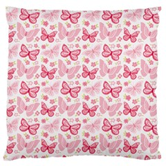 Cute Pink Flowers And Butterflies Pattern  Large Flano Cushion Case (one Side) by TastefulDesigns
