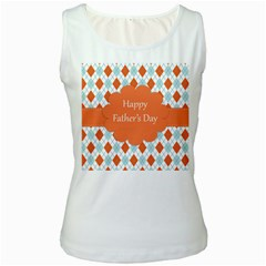Happy Father Day  Women s White Tank Top by Simbadda