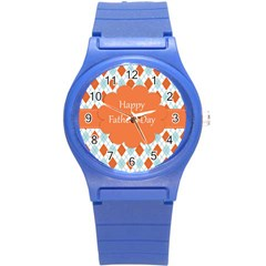 Happy Father Day  Round Plastic Sport Watch (s) by Simbadda