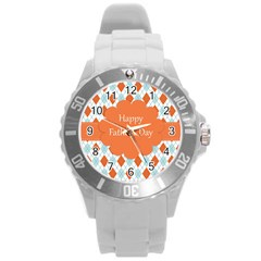 Happy Father Day  Round Plastic Sport Watch (l) by Simbadda