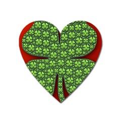 Shamrock Irish Ireland Clover Day Heart Magnet by Simbadda