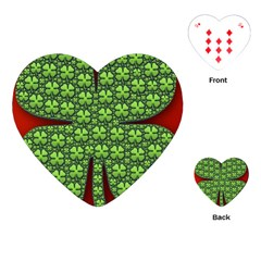 Shamrock Irish Ireland Clover Day Playing Cards (heart)  by Simbadda