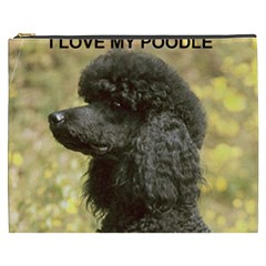 Poodle Love W Pic Black Cosmetic Bag (XXXL)  by TailWags